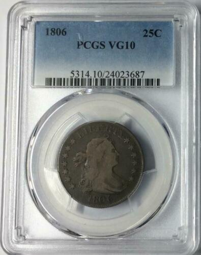 1806 25C Draped Bust Quarter PCGS VG10 #