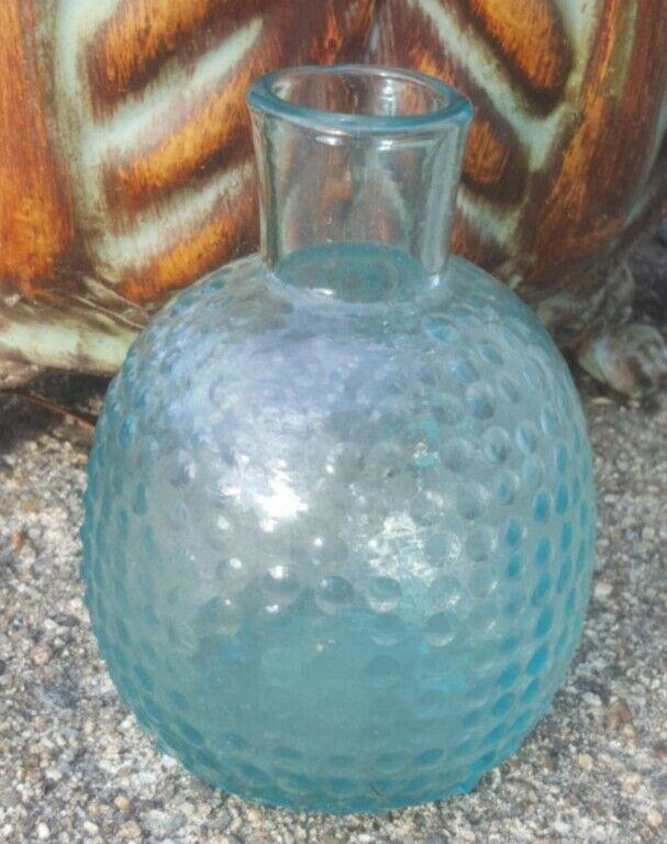 Vintage Pebbled Aqua Glass Bottle Vase Open Pontil Hand Blown Beautiful Color