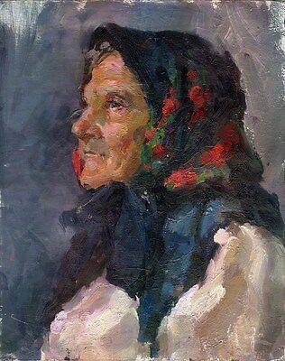 """Russischer Realist Expressionist Öl Leinwand """"Frau mit Kopftuch"""" 50x40 cm"""