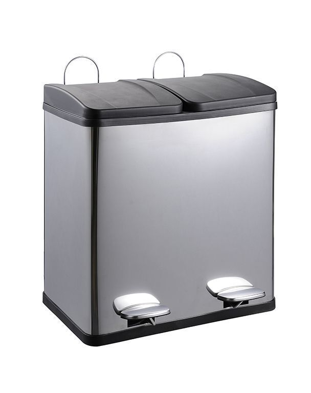 2x25 Liter Mülltrennung Abfalleimer Mülleimer Treteimer Eimer Abfalltrenner Neu