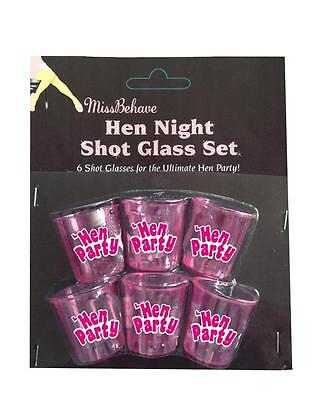 SHOT-6PACK 6 x Hen Night Party Bride to Be Fun Drinking Game Hot Pink Glasses