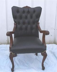 Walnut-Carved-Black-Leather-Armchair-Parlor-Chair-AC3