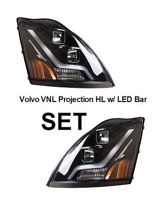 Volvo Truck VN/VNL Truck Black Projection Headlight SET w/ LED Light Bar 2004 +