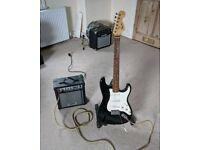 Fender Squire Stratocaster 20th Anniversary Edition + Washburn Bad Dog Amp