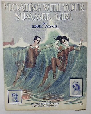 VINTAGE 1912 FLOATING WITH YOUR SUMMER GIRL AMERICAN Sheet Music