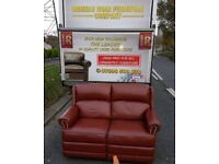 As new full reclining leather 2 seater sofa