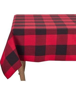 Buffalo Plaid Fabric Tablecloth 52x70 Cloth Red Black Rustic Country Christmas  - Rustic Table Cloth