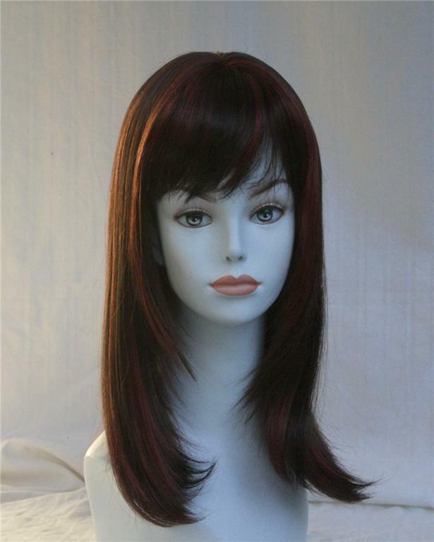 Red long Wig w/layered sides & Bangs - Lolita Hairdo