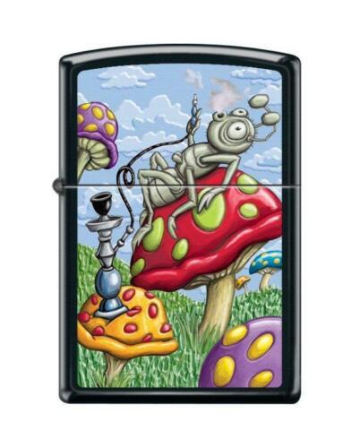 Zippo 4361, Smoking Bug-Mushroom Design, Black Matte Finish Lighter