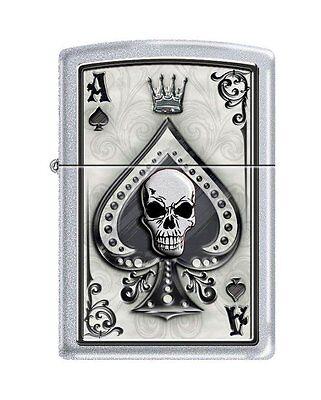 Zippo 4858, Ace of Spades-Skull, Satin Chrome Finish Lighter, Full Size