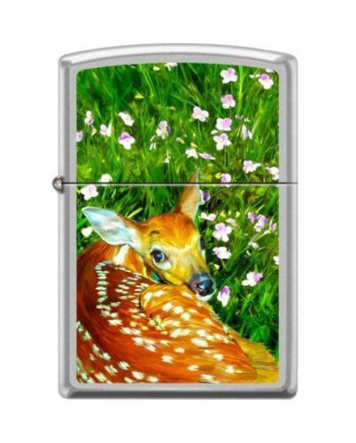 Zippo 4366, Fawn-Spring Scene, Satin Chrome Lighter