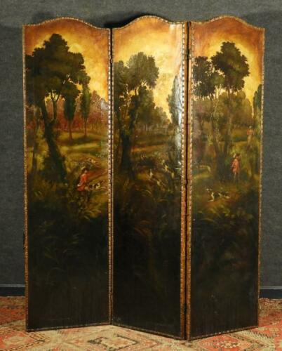 Antique Screen, Folding, 1900s, English Painted Leather Fox Hunting Scene, Nice!