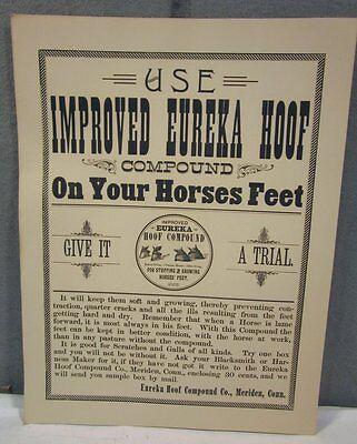 VINTAGE 1890's IMPROVED EUREKA HOOF VETERINARIAN MEDICAL HORSE MEDICINE SIGN