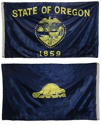 5 Double Sided Polyester Flag (3x5 State Of Oregon Super-knit 2ply Double Sided Polyester Flag)