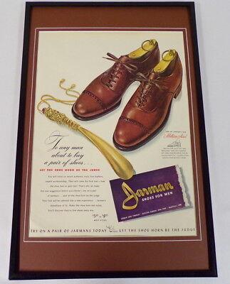 1942 Jarman Millionaires Shoes Framed 11x17 ORIGINAL Vintage Advertising Poster