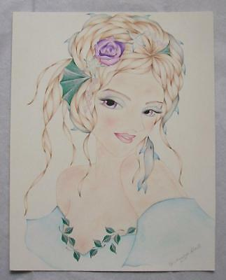 MERMAID SEA NAUTICAL DOLPHIN STARFISH PINK PEARL ROSES PASTEL DRAWING PAINTING