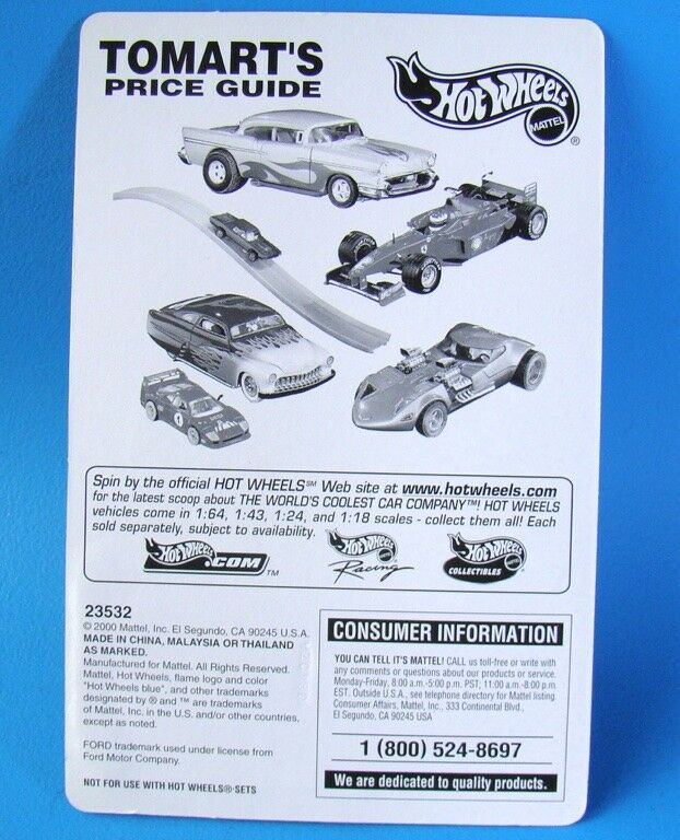 HOT WHEELS 2000 TOMART'S PRICE GUIDE 1946 FORD CONVERTIBLE - MIP