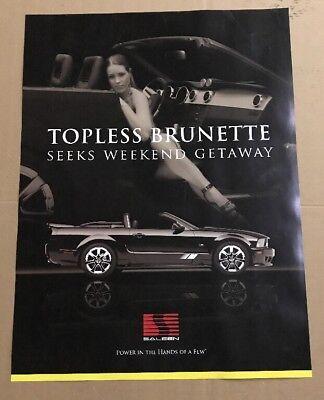 Saleen S281 Poster - Topless Brunette Seeks Weekend Getaway 24x36 - Garage Art