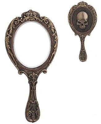 10 Inch Skull Brooch Hand Mirror Santa Muerte Grim Reaper Holy Death