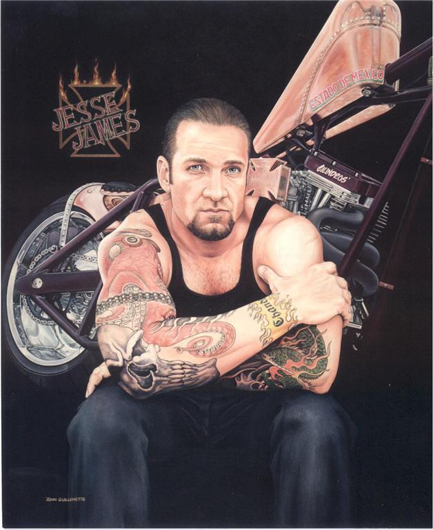 Jesse James Portrait Limited Edition Signed Motorcycle Art Print by Guillemette