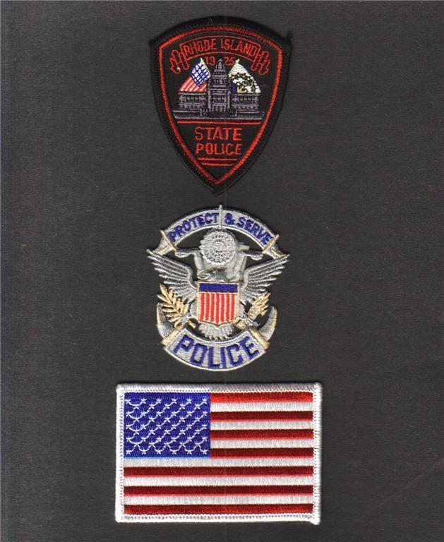RHODE ISLAND State POLICE USA FLAG Sew On Iron On NOVELTY PATCH SET 3 Pcs New