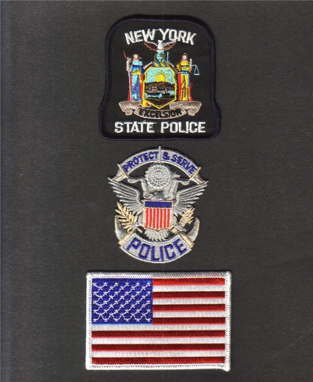NEW YORK State NY POLICE USA FLAG Sew On Iron On NOVELTY PATCH SET 3 Pcs New