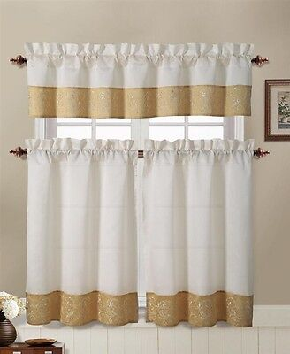 Gold and Beige Embroidered Kitchen Window Curtain Set : 2 Tier Panel, 1 Valance ()