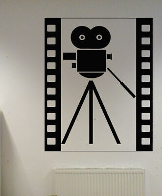 Used,  Wall Vinyl Sticker Decal Mural Design Movie Reel of Film Camera Action bo2382 for sale  Shipping to India