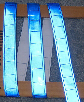 Blue Gloss Sew On Reflective Tape Pvc 3x1