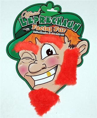 LEPRECHAUN ELF St Patricks Day ORANGE Beard Eyebrow Sideburn FACIAL FUR HAIR - Leprechaun Beards