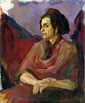 """Russischer Expressionist Öl Leinwand """"Sitzende"""" 60x50 cm"""