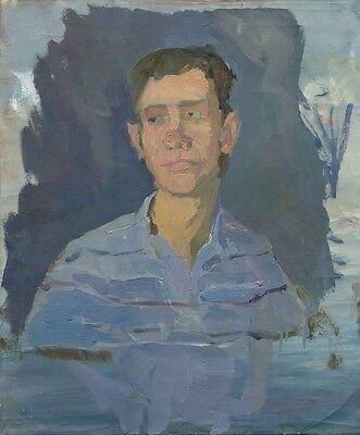 "Russischer Realist Expressionist Öl Leinwand ""Jungenporträt"" 59x49 cm"