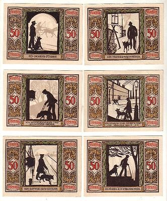 6 Banknoten 50 Pfennig Notgeld Oldenburg Verein für Sanitätshunde 1921 (115720)