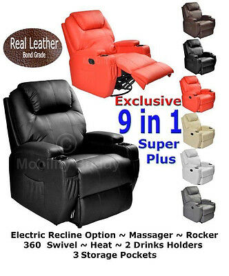 Real  Leather Cinema  Massage Rocking Swivel Nursing Gaming  Recliner Chair