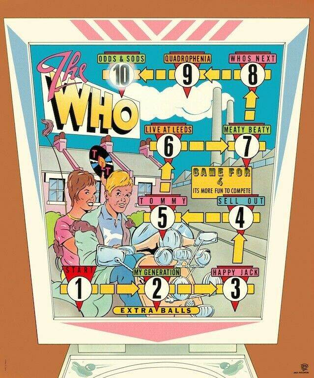 The Who Pinball Odds & Sods POSTER 1974 Rare Large Quadrophenia Wizard Mod Vespa