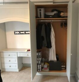 Fitted Grey mirror fronted wardrobe and Dressing Table