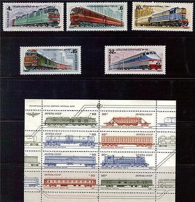 RUSSIA SC#5374TRAINS &LOCOMOTIVES SHEET 8 OF STAMPS MNH