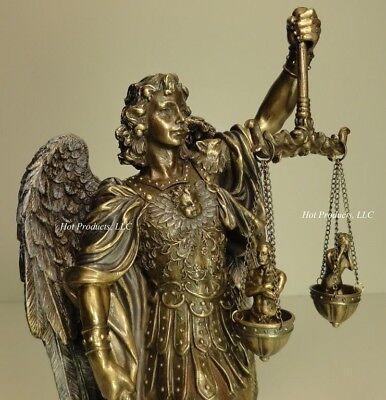 ST MICHAEL ARCHANGEL WEIGHING SOULS Figurine Statue Sculpture Bronze -