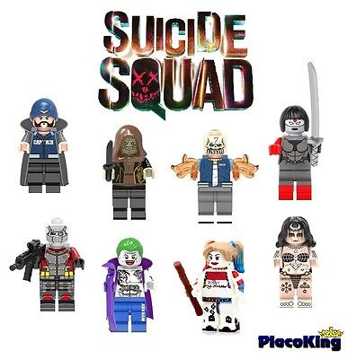 DC - SUICIDE SQUAD  -  Set x 8 - fits Lego Custom Mini Figures