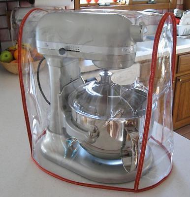CLEAR MIXER COVER fits KitchenAid Bowl Lift Mixer - RED Trim - (5-6 -