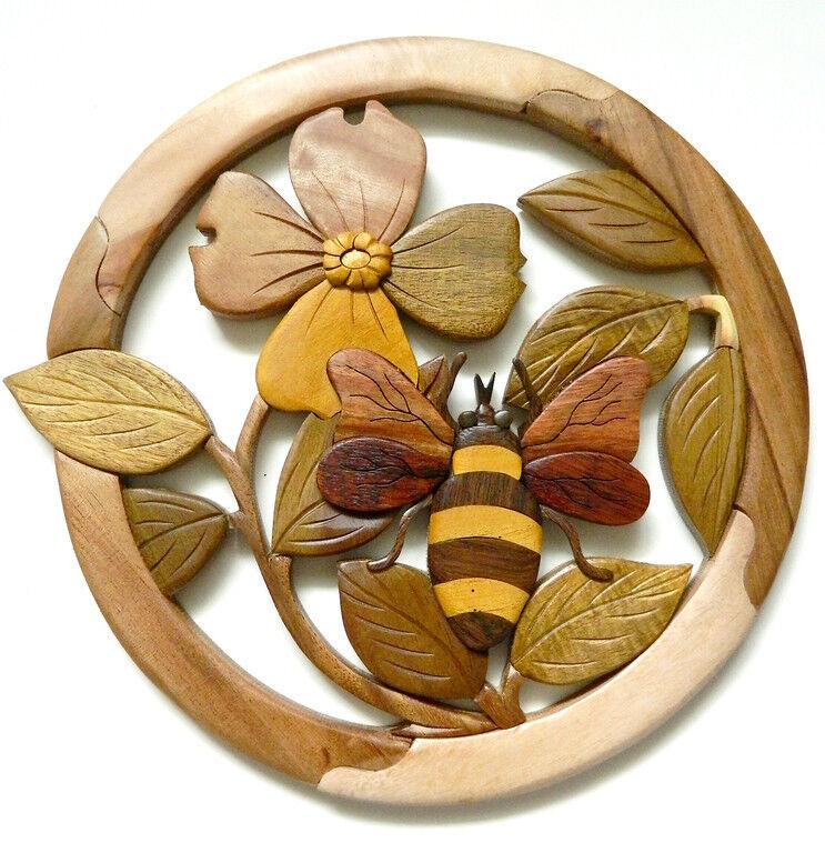 Bee Dogwood Flower Intarsia Wood Wall Art Home Decor Plaque Lodge New