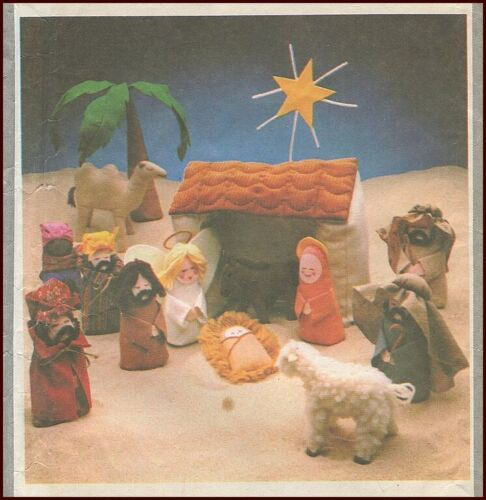 1970s Vintage Christmas Creche Nativity Toy Doll Sewing Pattern Simplicity 8776