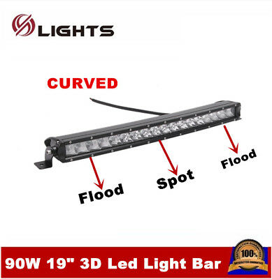 "19"" 90W LED Curved Slim Single Row Light Bar Offroad Lamp Boat Ford 3D Spot Ford comprar usado  Enviando para Brazil"