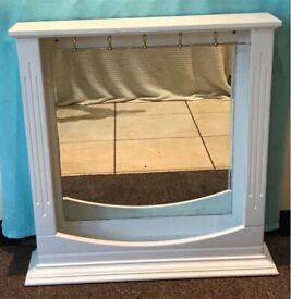Beautiful White Shabby Chic Dressing Table / Wall Mountable Bedroom Mirror Upcycling Restoration