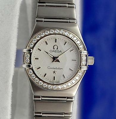 Ladies Omega Constellation Watch - Diamond Bezel - Silver Dial - 1466.31