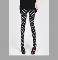 Column Polka Dot Embellished Elastic Skinny Ice Silk Leggings