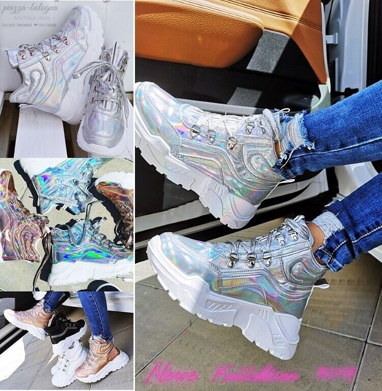 NEU  Gr. 41 ✰ HOLO Glanz AIR Sneakers GLITZER-Silber Bling Rainbow Sportschuhe