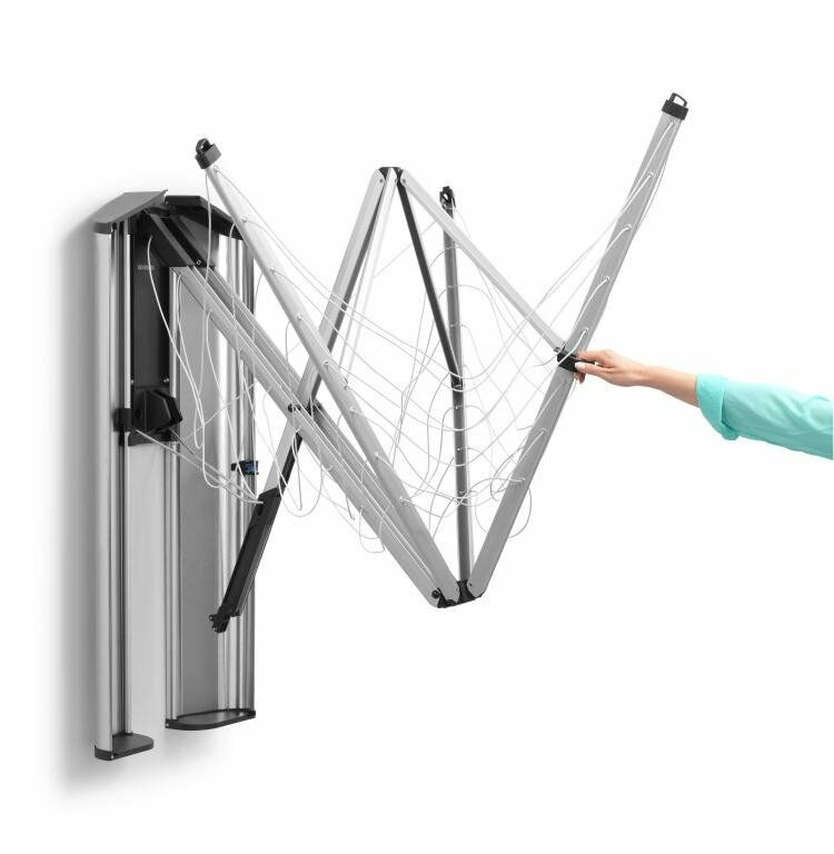 Brabantia wall mounted washing line folds away into stainless steel storage - Etendoir mural exterieur ...