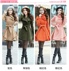Women's Slim Bow Belt Warm Winter Woolen Long Coat Jacket Free Scarf