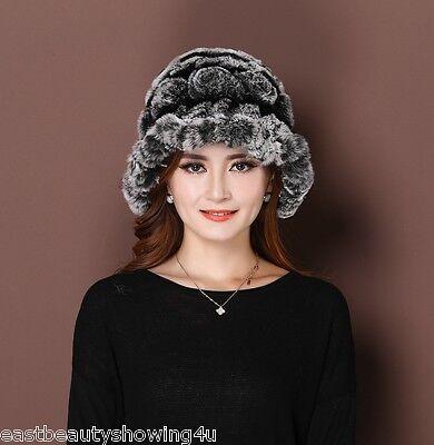 new women's real rex Rabbit fur princess hat cap with fur trim  Bucket Hat - Princess Hats